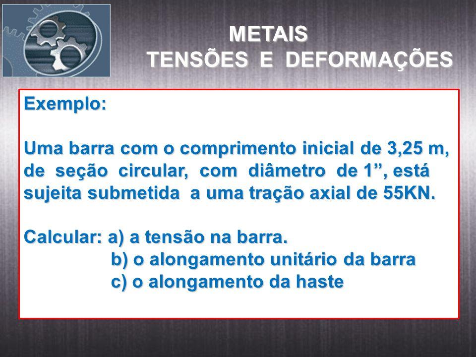 METAIS TENSÕES E DEFORMAÇÕES Exemplo: