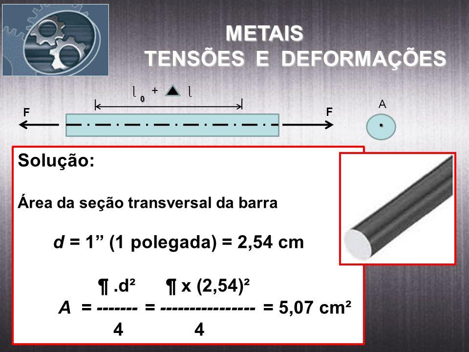 METAIS TENSÕES E DEFORMAÇÕES . Solução: d = 1 (1 polegada) = 2,54 cm