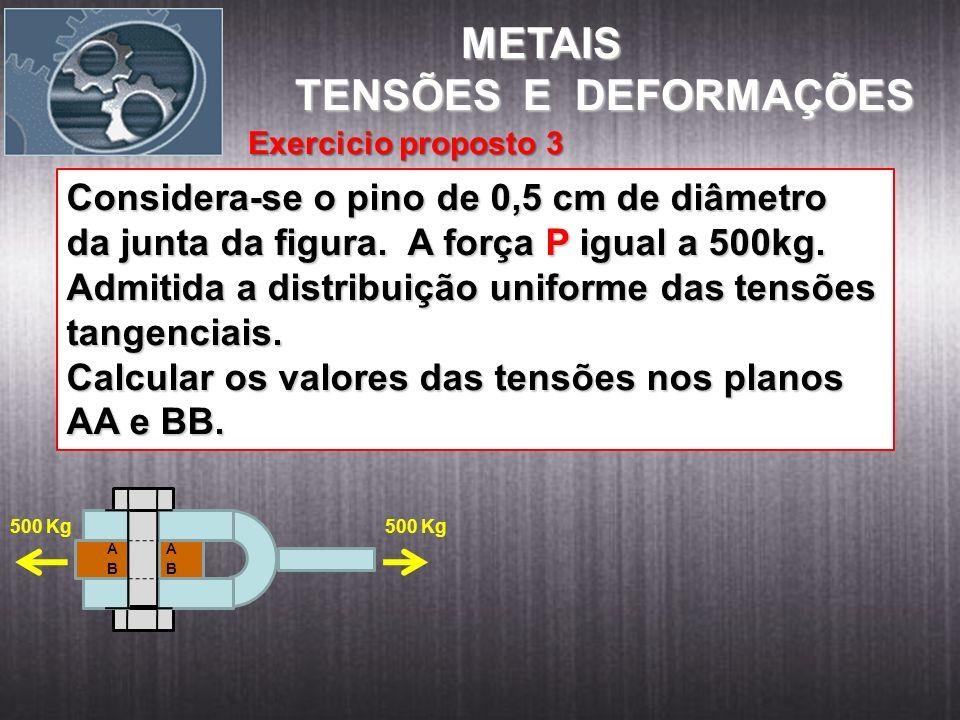 METAIS TENSÕES E DEFORMAÇÕES Considera-se o pino de 0,5 cm de diâmetro