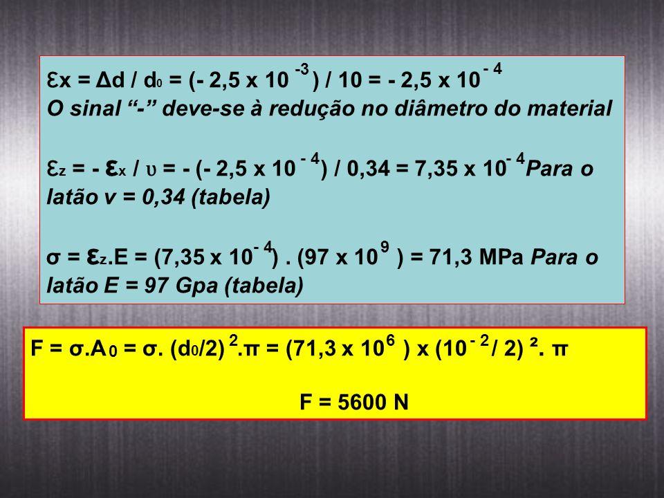 εx = Δd / d0 = (- 2,5 x 10 ) / 10 = - 2,5 x 10 O sinal - deve-se à redução no diâmetro do material.