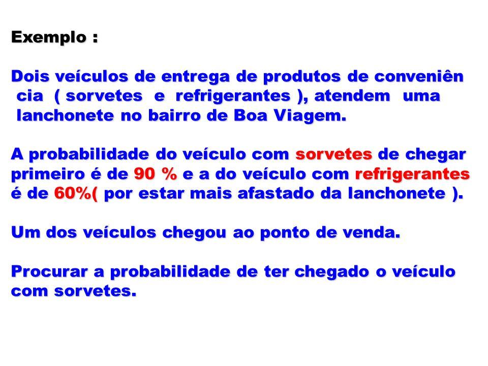 Exemplo : Dois veículos de entrega de produtos de conveniên. cia ( sorvetes e refrigerantes ), atendem uma.