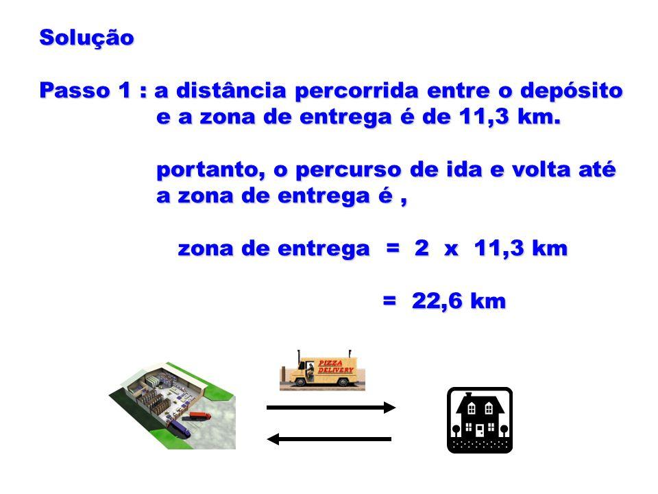 Solução Passo 1 : a distância percorrida entre o depósito. e a zona de entrega é de 11,3 km. portanto, o percurso de ida e volta até.