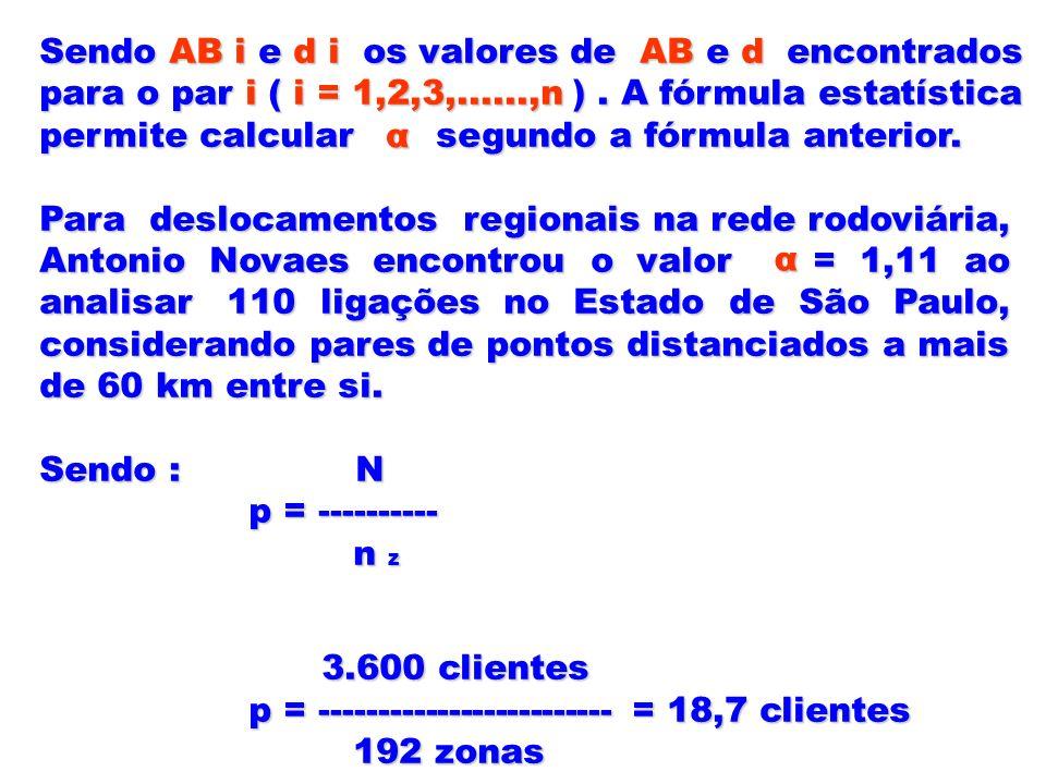 Sendo AB i e d i os valores de AB e d encontrados