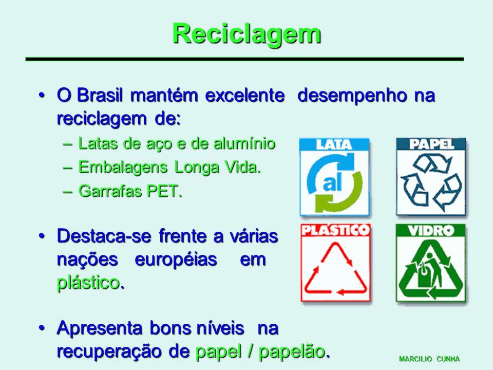 Reciclagem O Brasil mantém excelente desempenho na reciclagem de:
