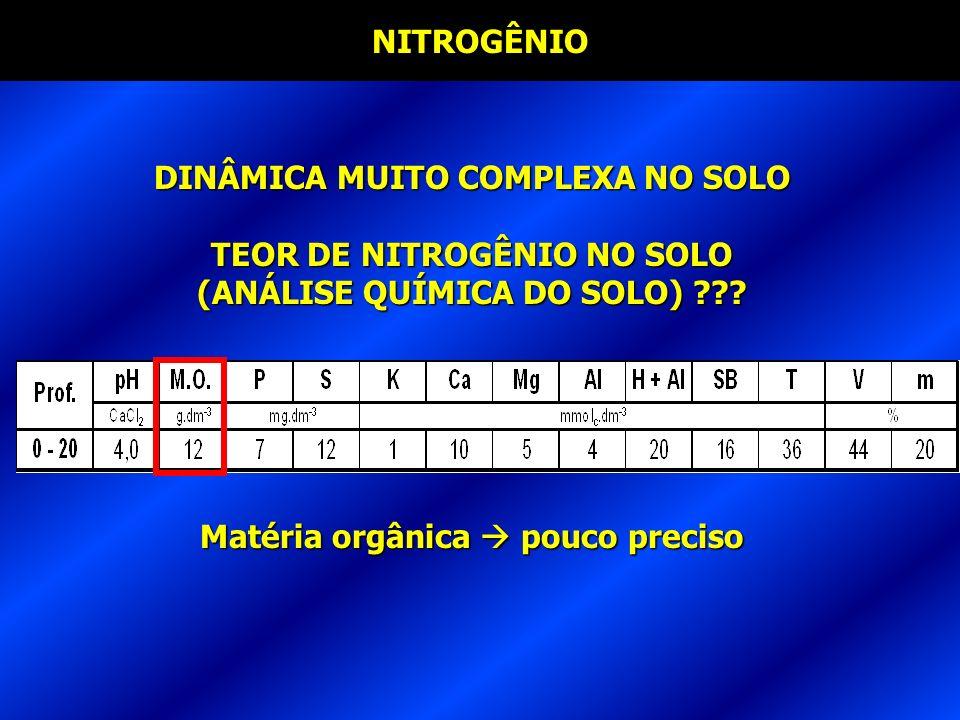 DINÂMICA MUITO COMPLEXA NO SOLO TEOR DE NITROGÊNIO NO SOLO