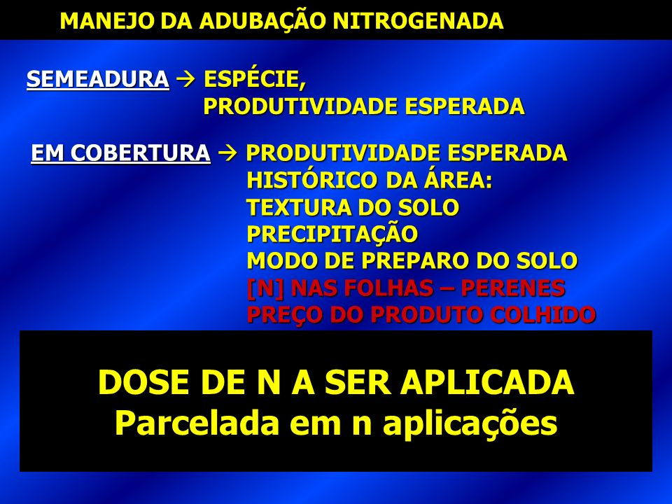 MANEJO DA ADUBAÇÃO NITROGENADA