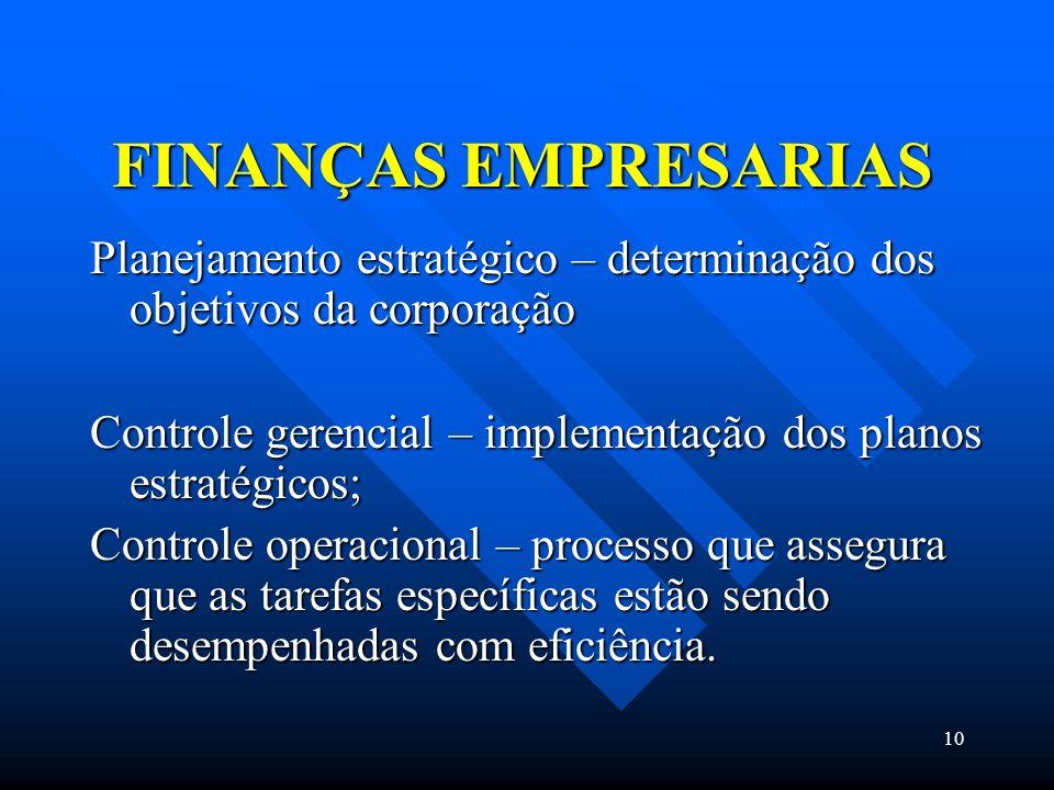 FINANÇAS EMPRESARIAS Planejamento estratégico – determinação dos objetivos da corporação.