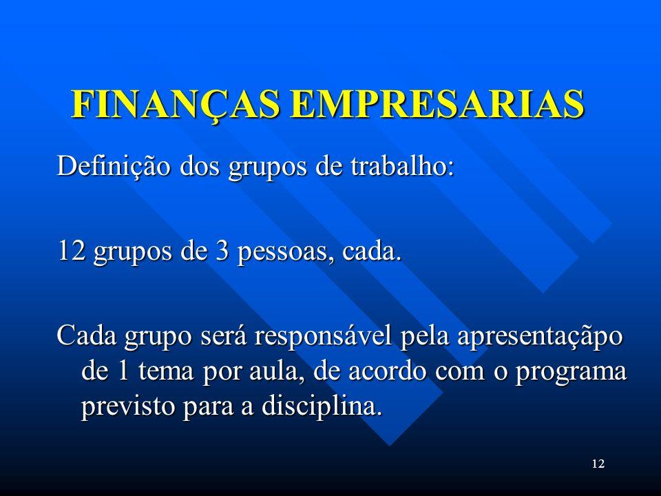 FINANÇAS EMPRESARIAS Definição dos grupos de trabalho: