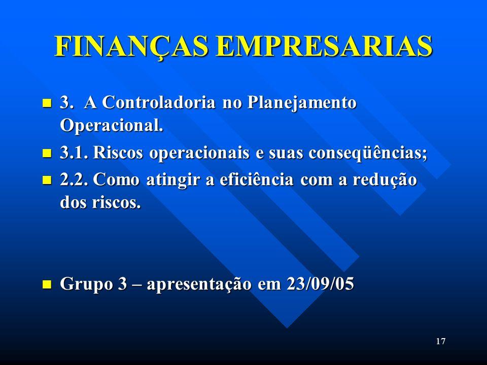 FINANÇAS EMPRESARIAS 3. A Controladoria no Planejamento Operacional.