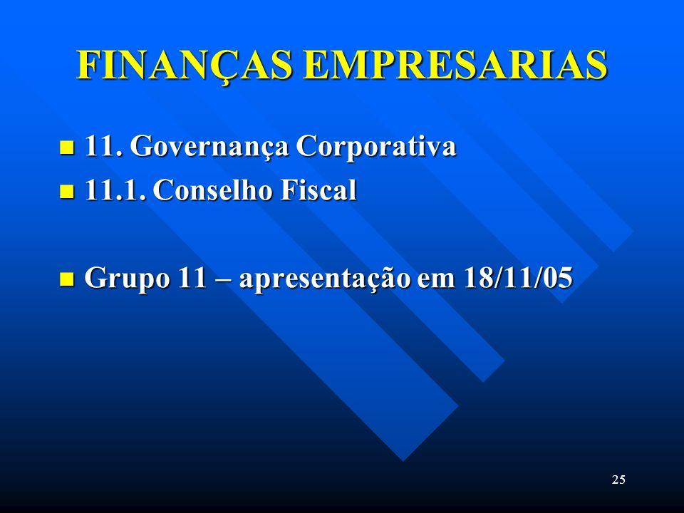 FINANÇAS EMPRESARIAS 11. Governança Corporativa 11.1. Conselho Fiscal