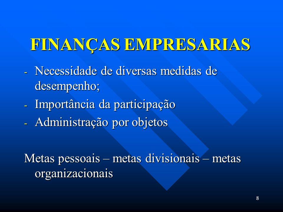FINANÇAS EMPRESARIAS Necessidade de diversas medidas de desempenho;