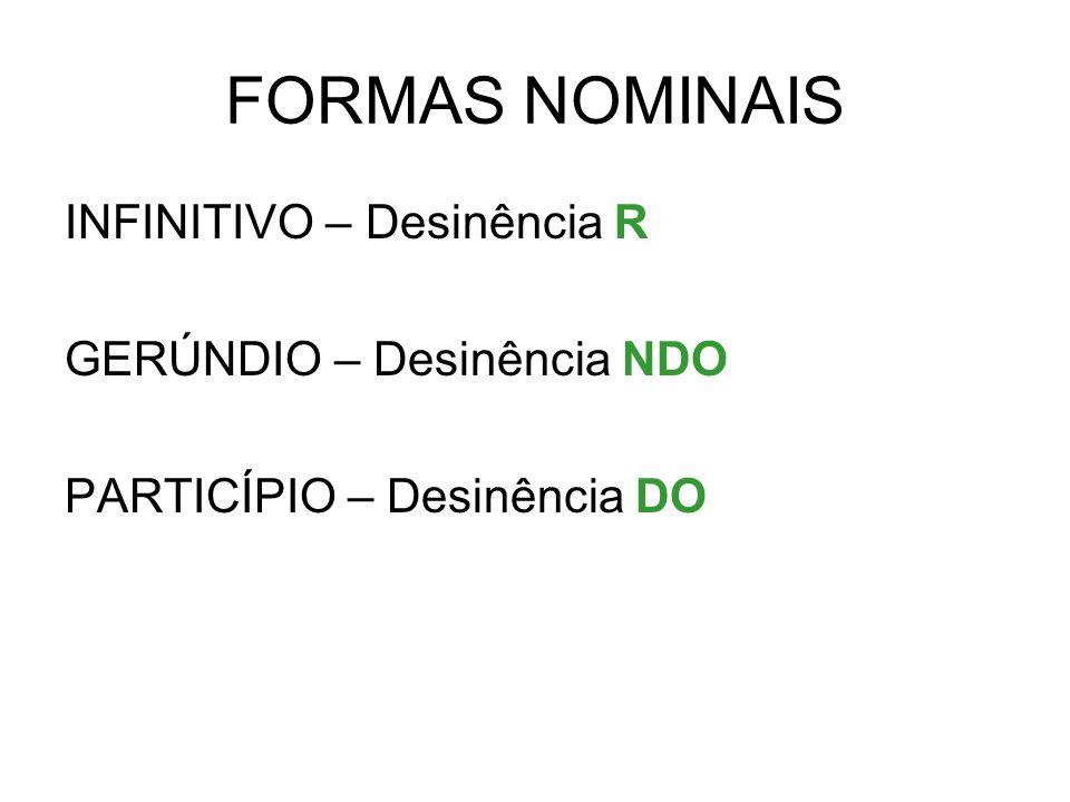 FORMAS NOMINAIS INFINITIVO – Desinência R GERÚNDIO – Desinência NDO