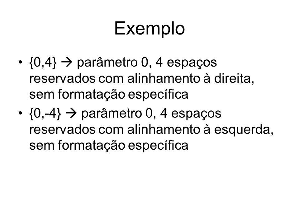 Exemplo {0,4}  parâmetro 0, 4 espaços reservados com alinhamento à direita, sem formatação específica.