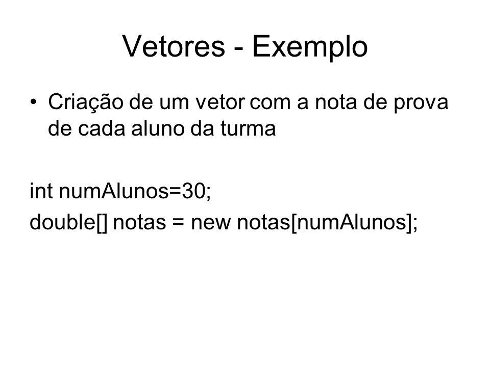Vetores - Exemplo Criação de um vetor com a nota de prova de cada aluno da turma. int numAlunos=30;