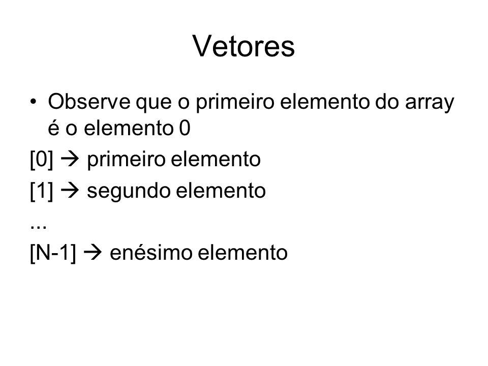 Vetores Observe que o primeiro elemento do array é o elemento 0