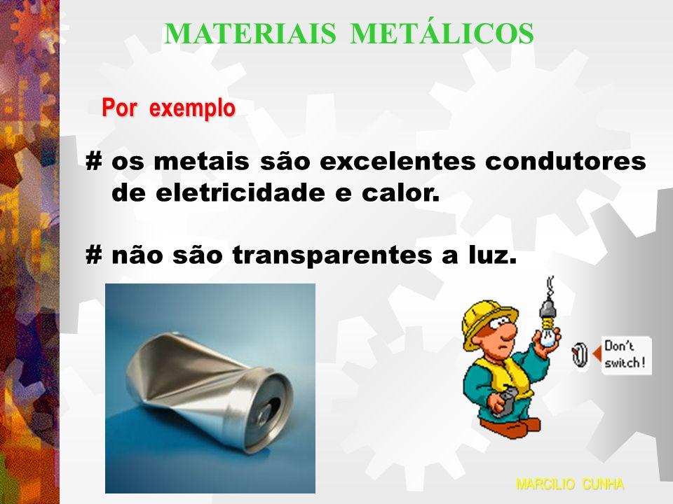 MATERIAIS METÁLICOS Por exemplo # os metais são excelentes condutores