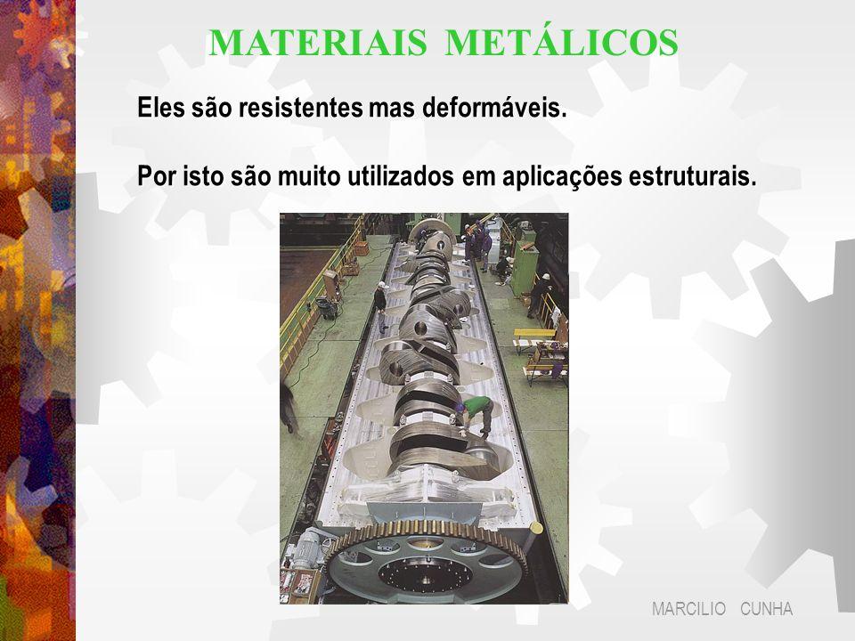 MATERIAIS METÁLICOS Eles são resistentes mas deformáveis.