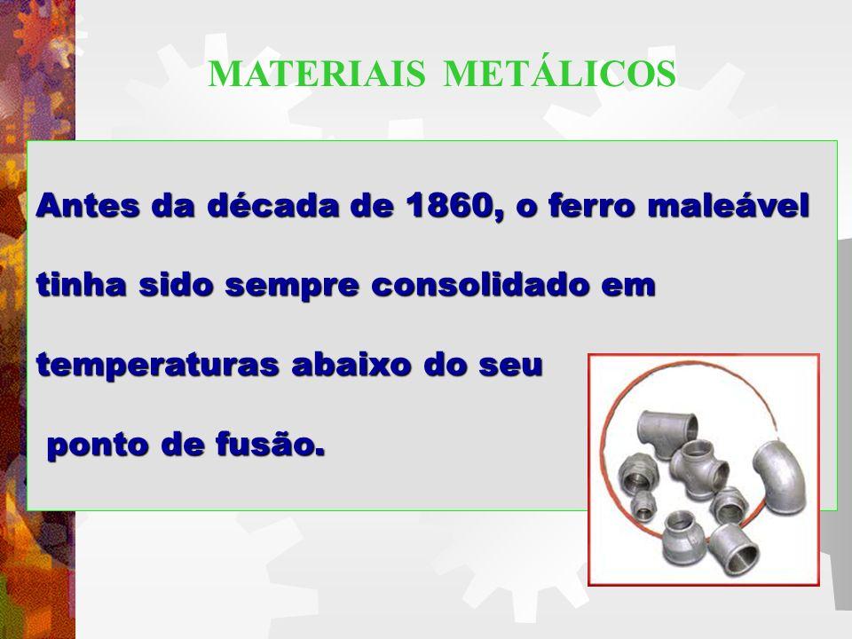 MATERIAIS METÁLICOS Antes da década de 1860, o ferro maleável