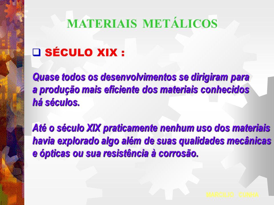 MATERIAIS METÁLICOS SÉCULO XIX :