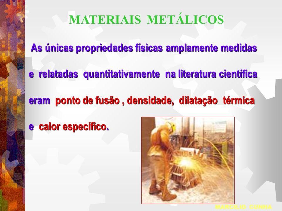 MATERIAIS METÁLICOS As únicas propriedades físicas amplamente medidas. e relatadas quantitativamente na literatura científica.