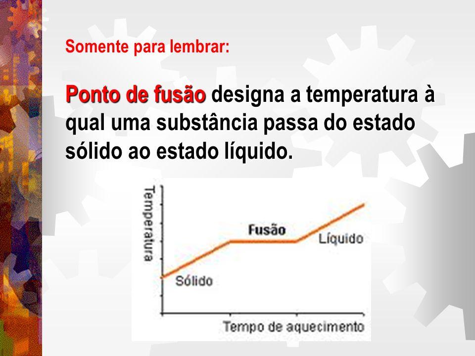 Ponto de fusão designa a temperatura à