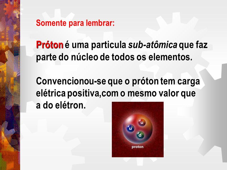Próton é uma particula sub-atômica que faz