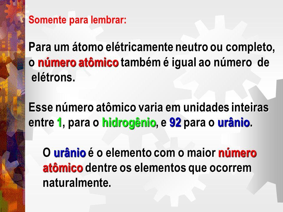 Para um átomo elétricamente neutro ou completo,