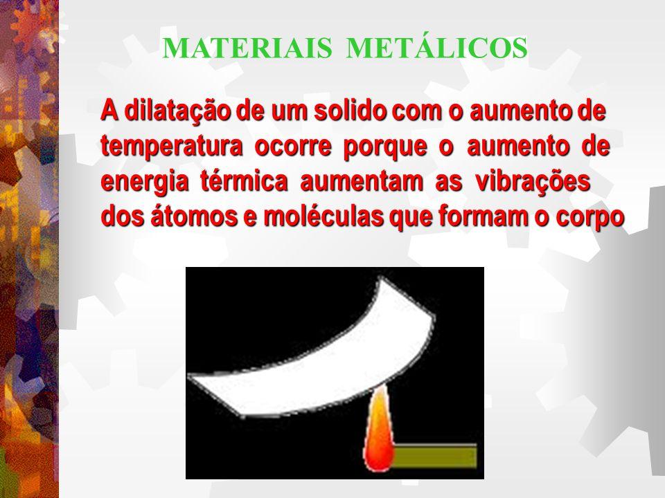 MATERIAIS METÁLICOS A dilatação de um solido com o aumento de. temperatura ocorre porque o aumento de.