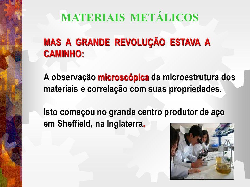 MATERIAIS METÁLICOS MAS A GRANDE REVOLUÇÃO ESTAVA A CAMINHO: