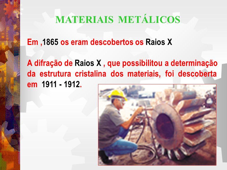 MATERIAIS METÁLICOS Em ,1865 os eram descobertos os Raios X