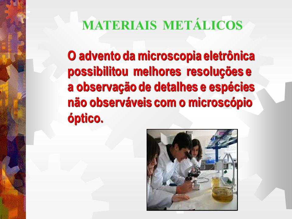 MATERIAIS METÁLICOS O advento da microscopia eletrônica. possibilitou melhores resoluções e. a observação de detalhes e espécies.