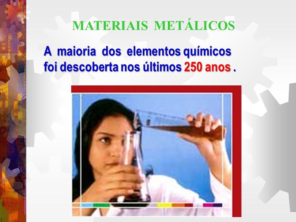 MATERIAIS METÁLICOS A maioria dos elementos químicos foi descoberta nos últimos 250 anos .