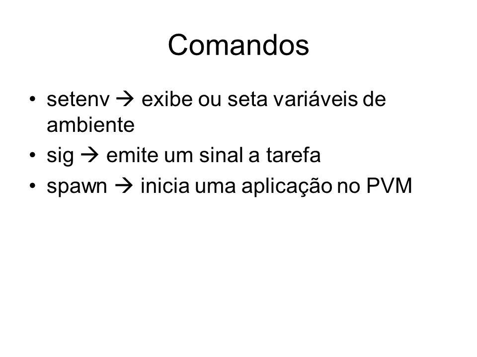 Comandos setenv  exibe ou seta variáveis de ambiente