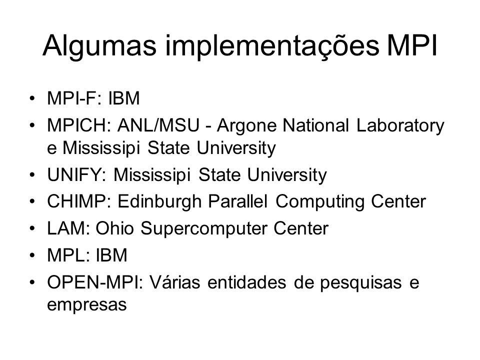 Algumas implementações MPI