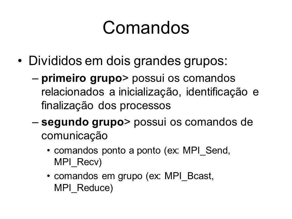Comandos Divididos em dois grandes grupos: