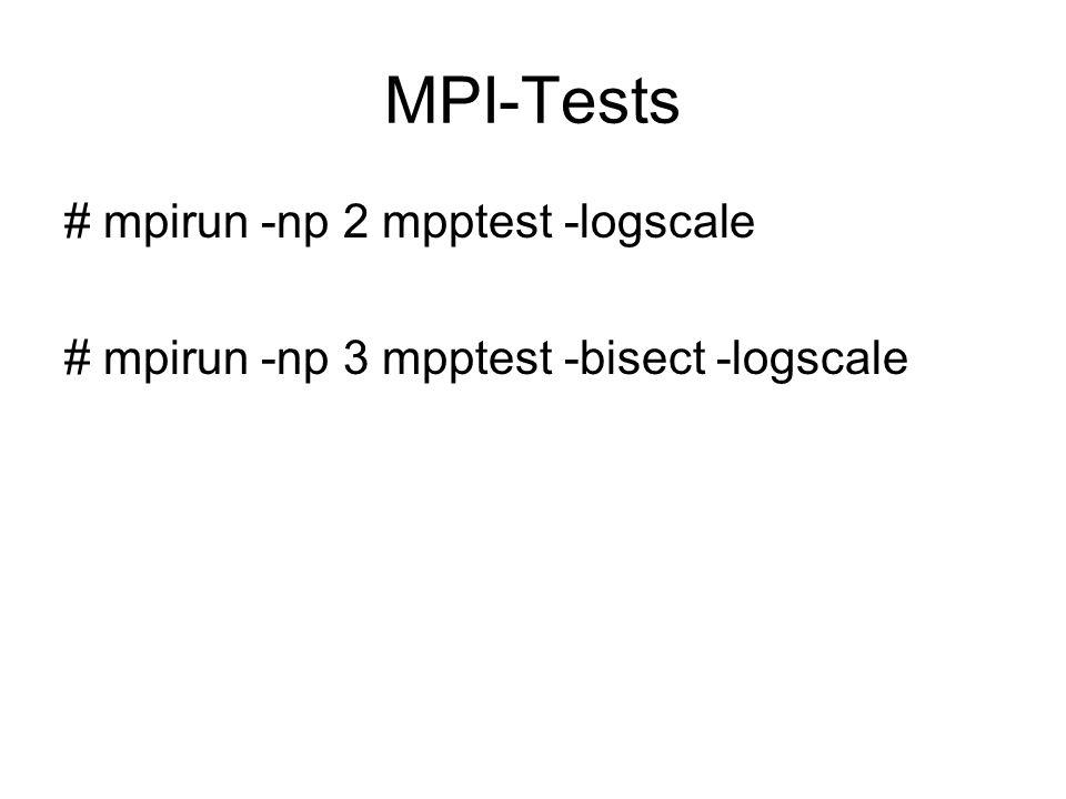 MPI-Tests # mpirun -np 2 mpptest -logscale