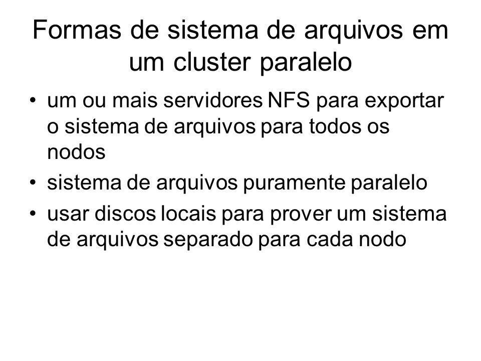 Formas de sistema de arquivos em um cluster paralelo