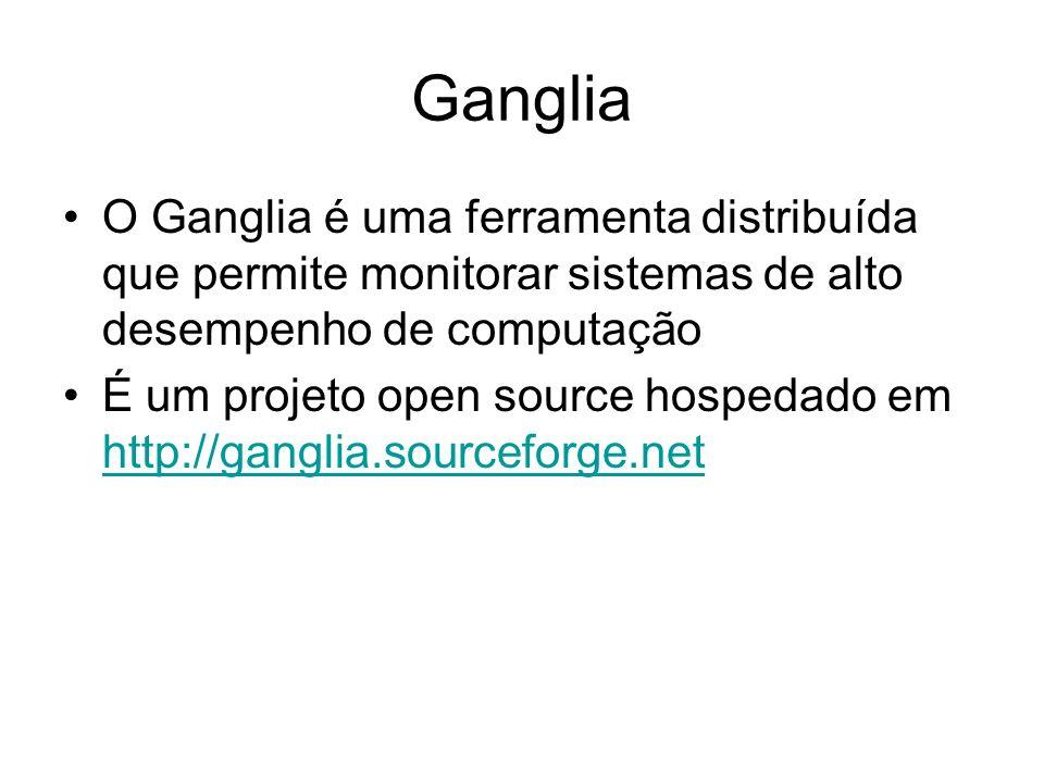 GangliaO Ganglia é uma ferramenta distribuída que permite monitorar sistemas de alto desempenho de computação.
