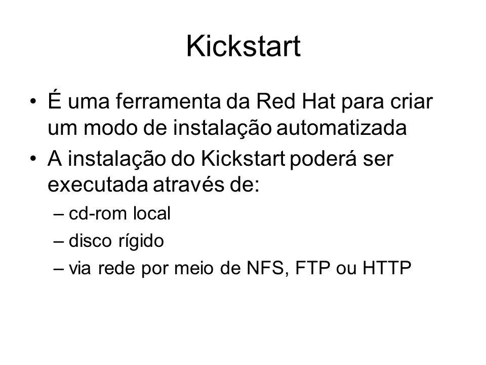 KickstartÉ uma ferramenta da Red Hat para criar um modo de instalação automatizada. A instalação do Kickstart poderá ser executada através de: