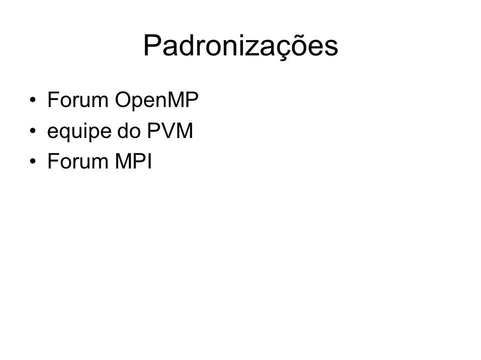 Padronizações Forum OpenMP equipe do PVM Forum MPI