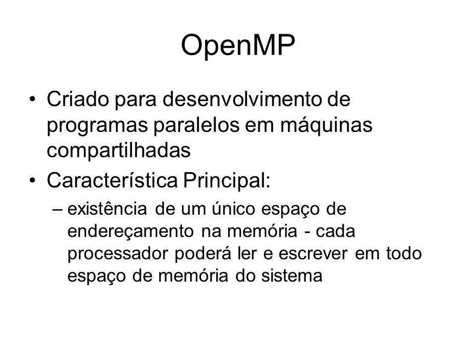OpenMP Criado para desenvolvimento de programas paralelos em máquinas compartilhadas. Característica Principal: