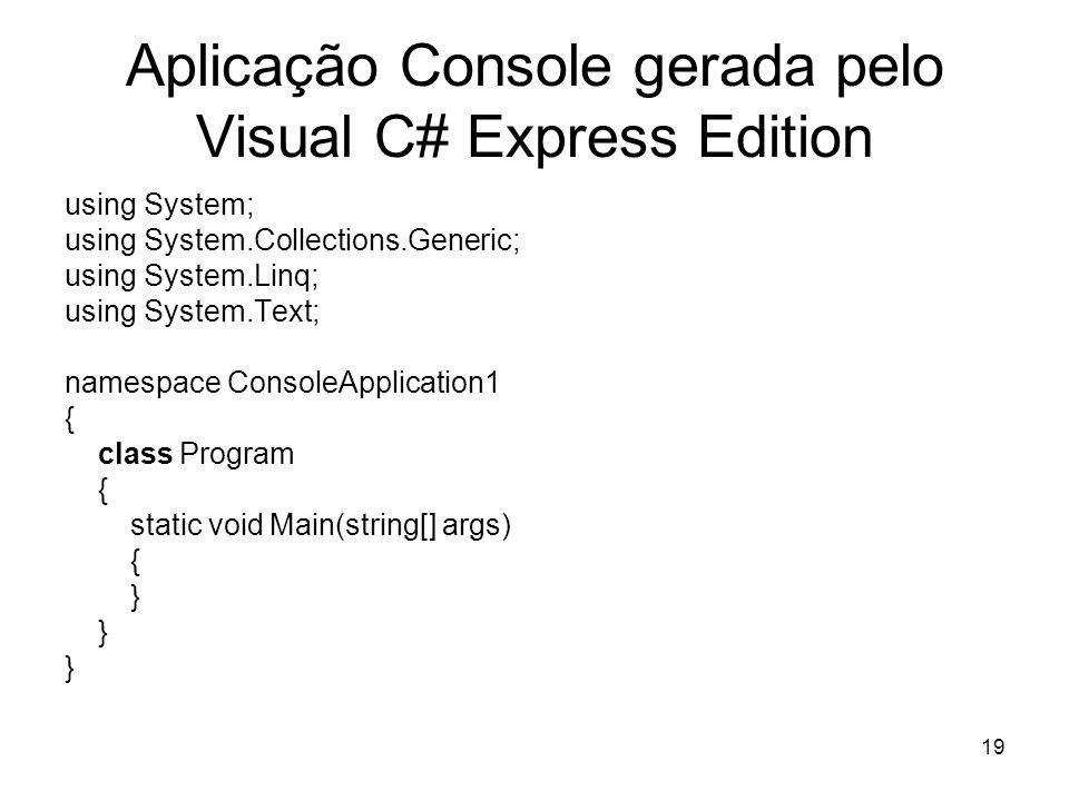 Aplicação Console gerada pelo Visual C# Express Edition