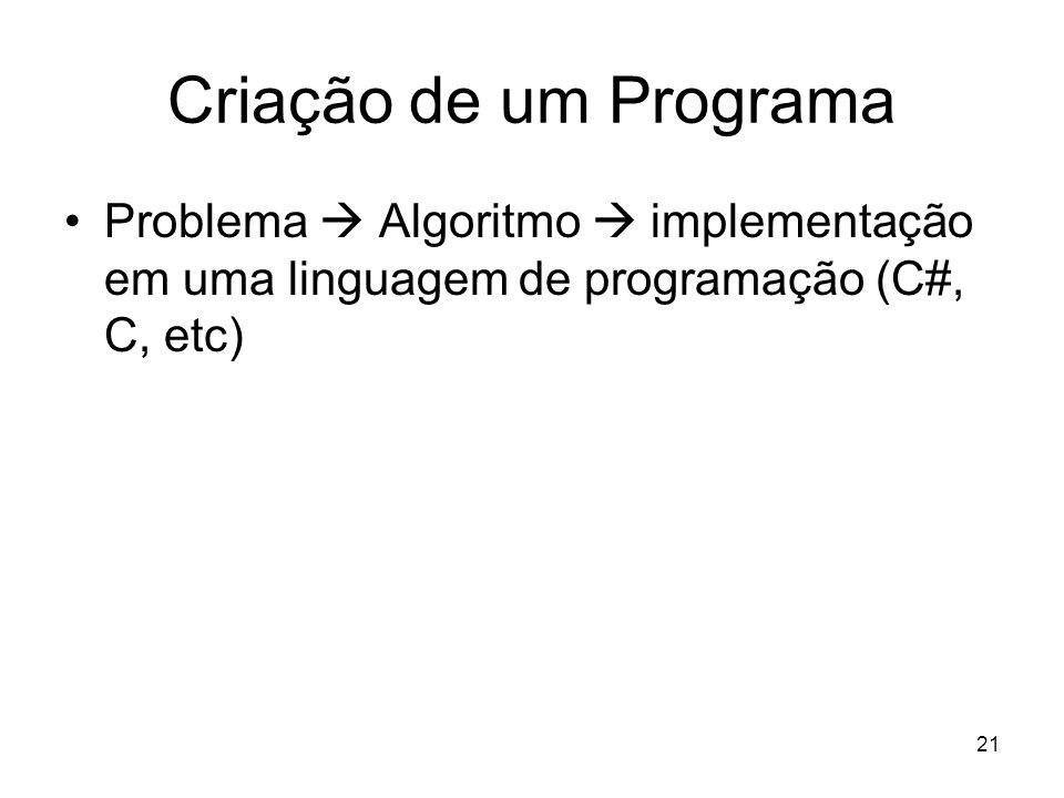 Criação de um ProgramaProblema  Algoritmo  implementação em uma linguagem de programação (C#, C, etc)