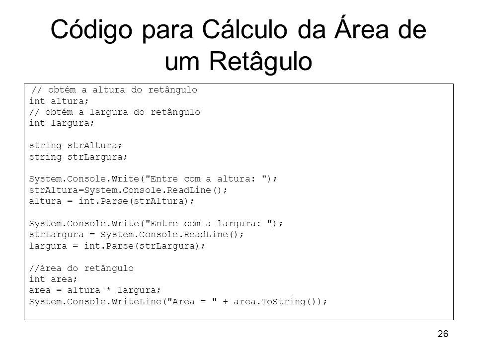 Código para Cálculo da Área de um Retâgulo