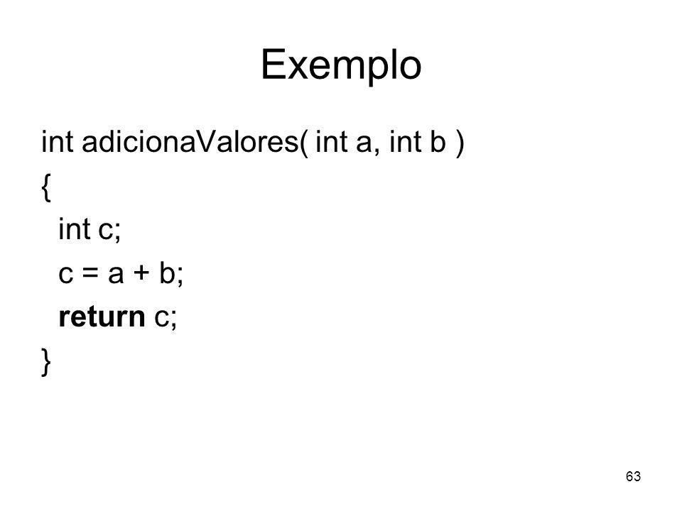 Exemplo int adicionaValores( int a, int b ) { int c; c = a + b;
