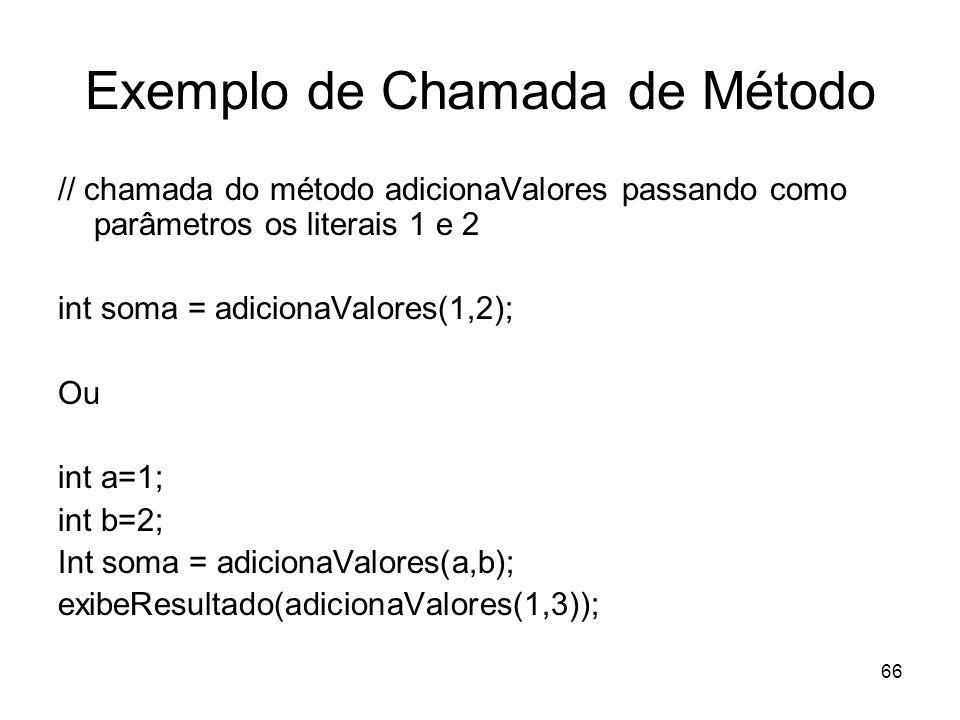 Exemplo de Chamada de Método