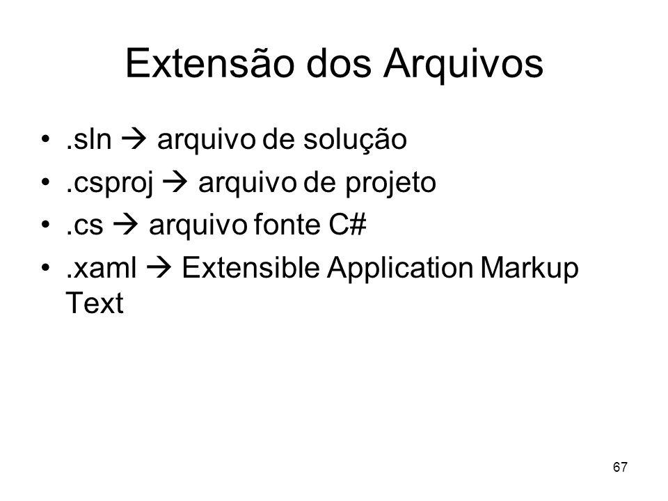 Extensão dos Arquivos .sln  arquivo de solução