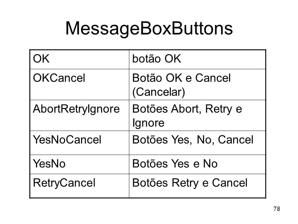 MessageBoxButtons OK botão OK OKCancel Botão OK e Cancel (Cancelar)