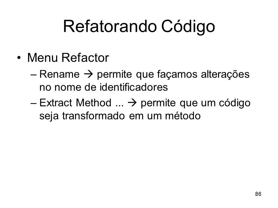 Refatorando Código Menu Refactor