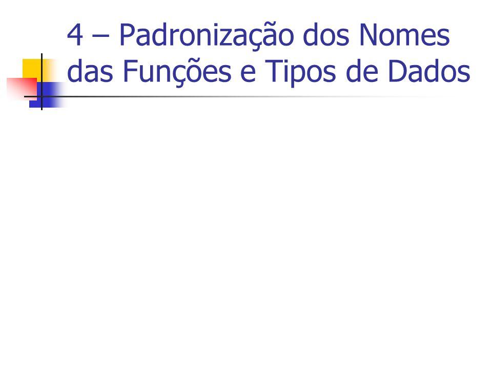 4 – Padronização dos Nomes das Funções e Tipos de Dados